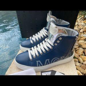 MCM Blue & Silver Leather Men's Hi-top Sneakers